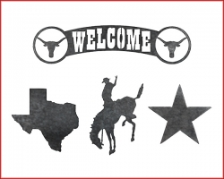 Texas-shaped Steel Cutout, Star Steel Cutout, Welcome letters with longhorns steel cutout, and a cowboy on a horse steel cutout.