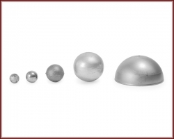 Five different sizes of balls and spheres.