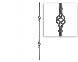 Baluster plain twist with baskets, square baluster.