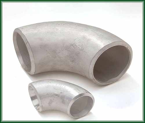 Two Aluminum Buttweld Elbows in different sizes.
