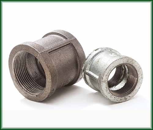 Two different Malleable Iron Couplings in black and galvanized finishes.