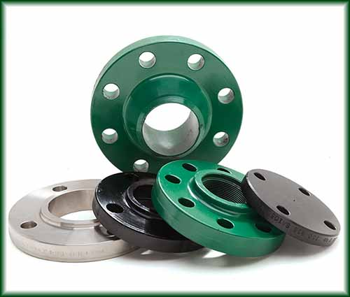 Five Pipe Flanges in different colors and sizes.
