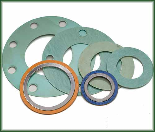 Six different Pipe Fitting Gaskets made of metal.