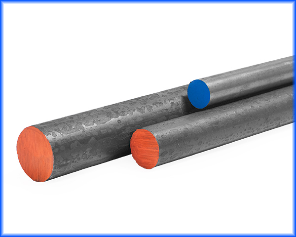 3 sizes of steel round bars - a one inch cold rolled round, 1.50 inch hot rolled round, 2 inch hot rolled round bar