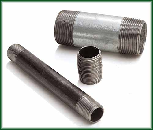 Three different Carbon Steel Seamless Pipe Nipples made of Grade B material.