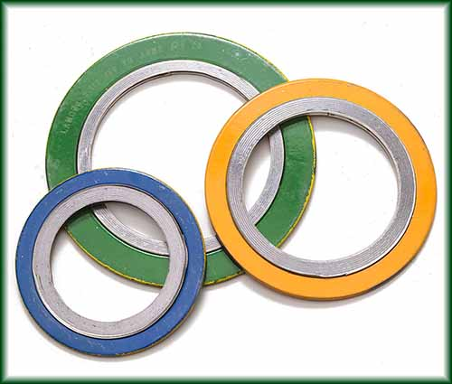 Three different Spiral Wound Gaskets made with a mix of metallic and filler material.