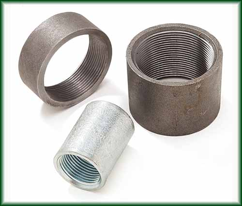 Three different Steel Merchant couplings in black and galvanized finishes.