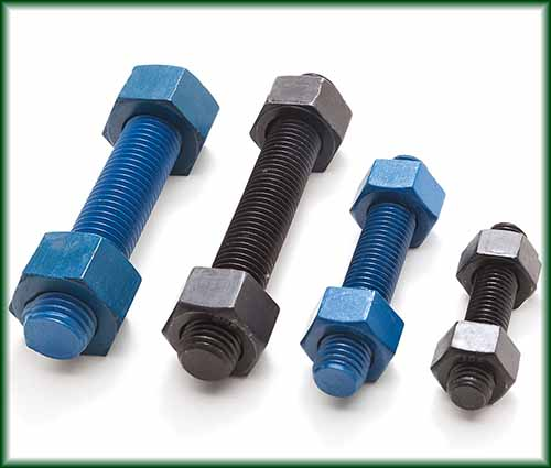 Four different sizes of Carbon Steel Stud Bolts in black and teflon coated finishes.