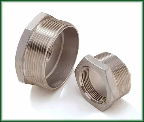 Two different Cast Stainless Hex Bushings.