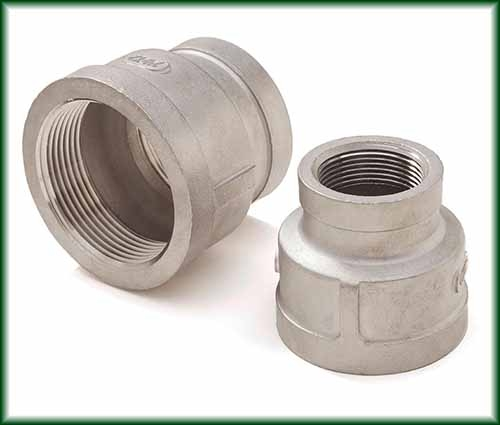 Two different Cast Stainless Threaded Reducers.