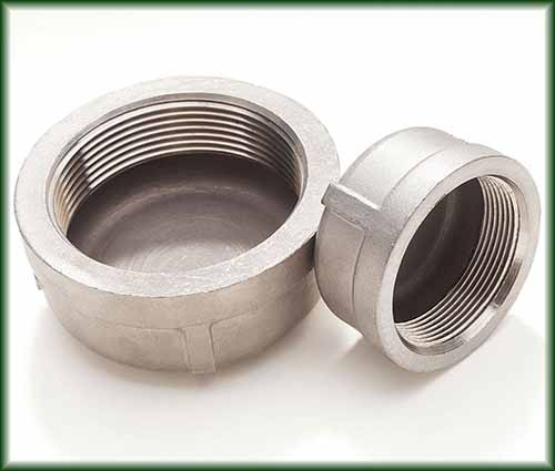 Two types of Cast Stainless Threaded Caps in different sizes and grades.
