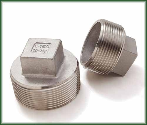 Two different Threaded Cast Stainless Plugs.