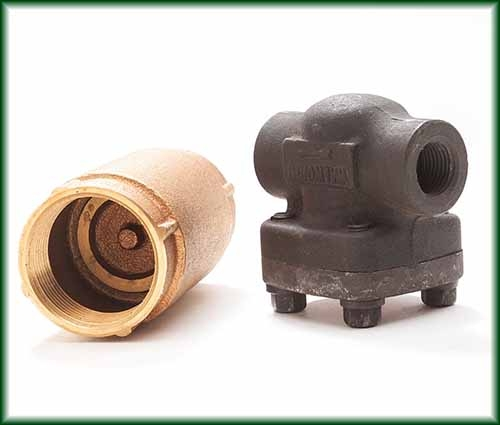 Two different Check Valves in bronze, bronze and cast steel, also known as clack valves, one-way valves and non-return valves.