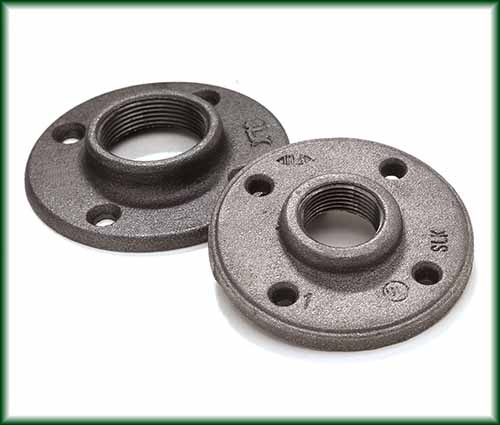 Two different Malleable Iron Floor Flanges.