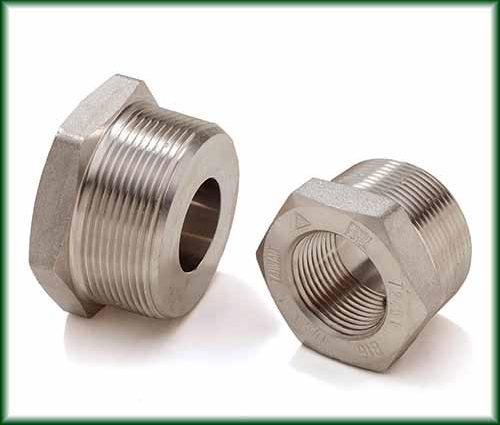 Two Forged Stainless Hex Bushings made from Solid Bar Stock.
