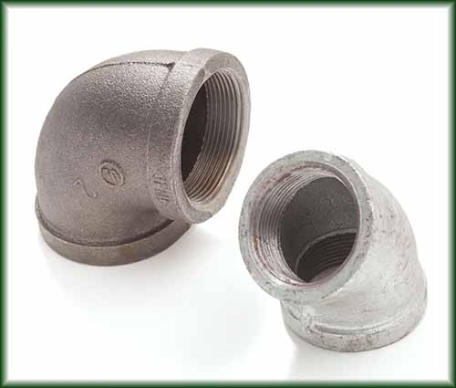 Two different Malleable Iron Elbows in black and galvanized finishes.