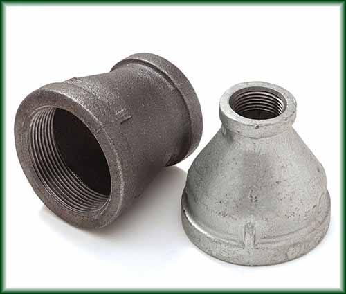 Two different Malleable Iron Reducers in black and galvanized finishes.