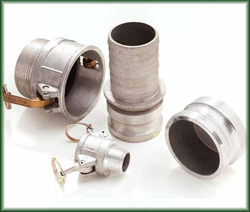 Four types of Aluminum Cam and Groove Couplings in different sizes also known as Cam Lock Fittings.