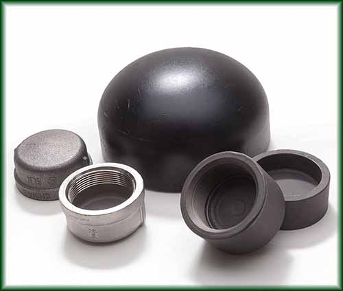 Five Pipe Caps varying in Aluminum, Carbon Steel, Malleable Iron, and Stainless.
