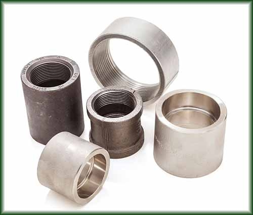 Five different Pipe Couplings ranging in Aluminum, Carbon, Steel, Malleable Iron and Stainless Steel.