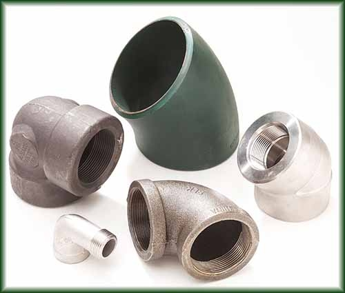 Five different pipe elbows in aluminum, carbon steel, malleable iron, and stainless steel.