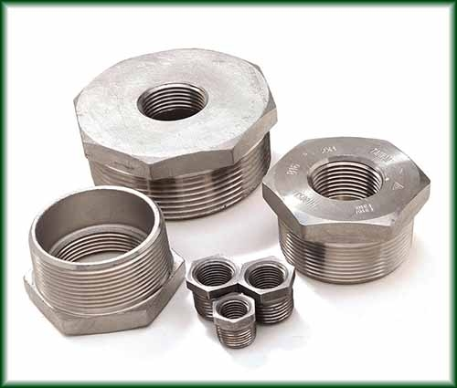 A variety of Hex Bushings in different sizes.