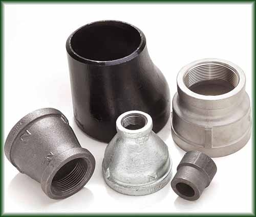 Five different reducers that allow a change in pipe size.