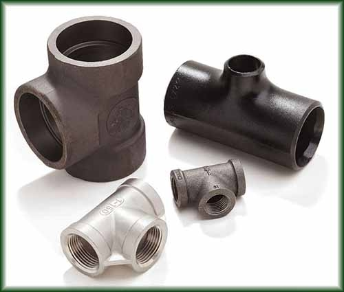 Four different Pipe Fitting Tees and Reducing Tees.