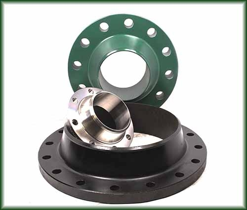 Three Weld Neck Flanges in Aluminum, Carbon Steel, Stainless Steel, and High Yield.