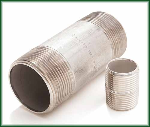 Two different sizes of Stainless Steel Seamless Pipe Nipples.