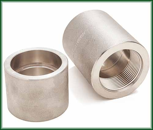 Two different Forged Stainless Steel Couplings.
