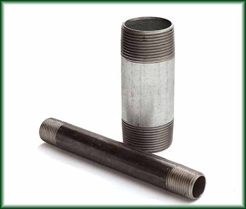 Two different Welded Carbon Steel Pipe Nipples in black and galvanized finishes.