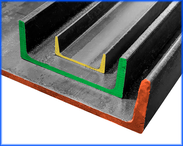 Three sizes of carbon steel channel
