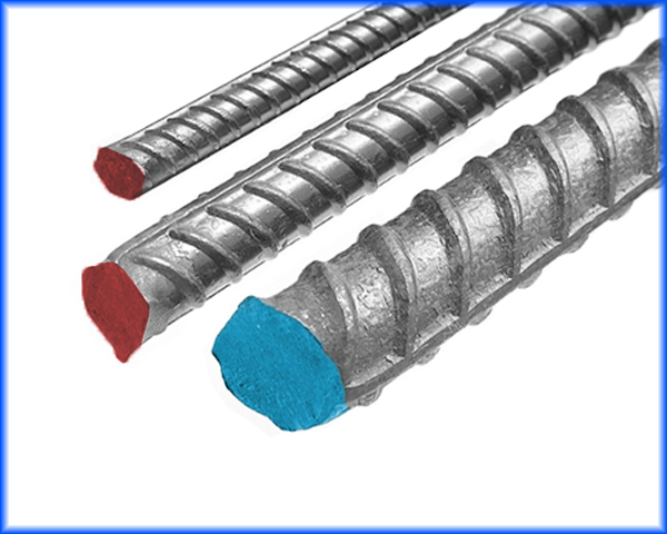 3 different sizes of Carbon Steel Rebar