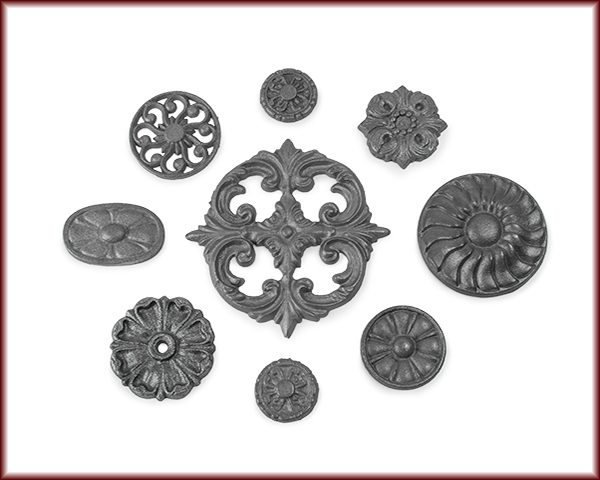 Nine different Cast Iron Rosettes and Inserts.