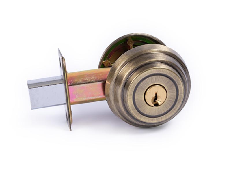 Polished Brass 2 375 inch backset deadbolt lock 1