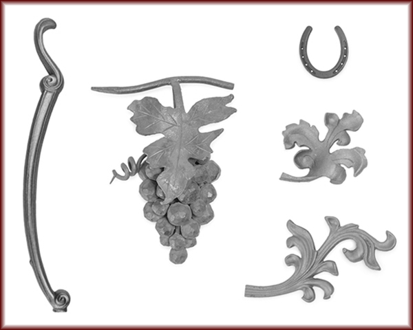 Horseshoes, Cast Iron and Leaves, Iron furniture legs, and Cast Iron Grape Clusters.