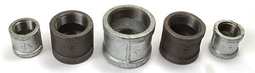 Five different sizes of Malleable Iron Couplings
