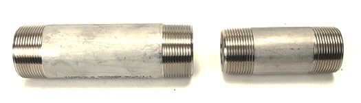 Two different Seamless Stainless Steel Pipe Nipples