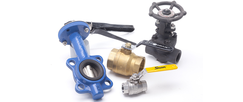 Four different stainless ball valves.