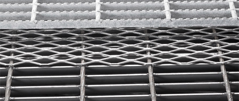 Three different steel bar gratings.