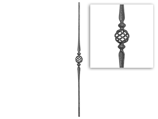 Baluster, round with basket and collar