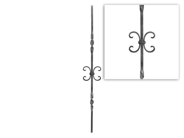 Baluster double ribbon twist with scroll, 39.5 inch