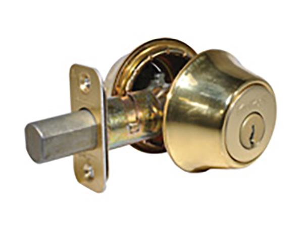 Kwikset Bright Brass Double Cylinder Deadbolt Lock