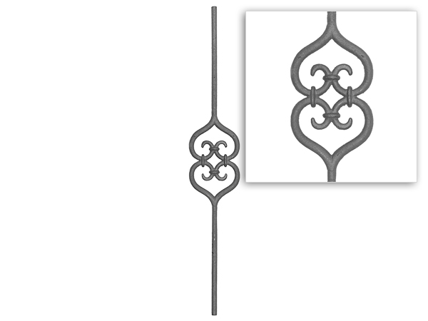Round baluster heart scroll