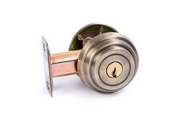 Antique brass, 2.375-inch, backset deadbolt lock