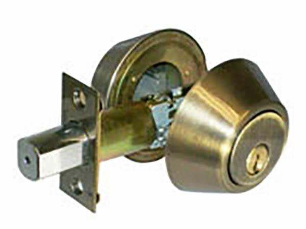 Antique brass double cylinder deadbolt lock