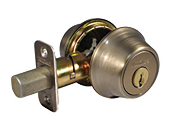 Kwikset antique brass double cylinder deadbolt lock