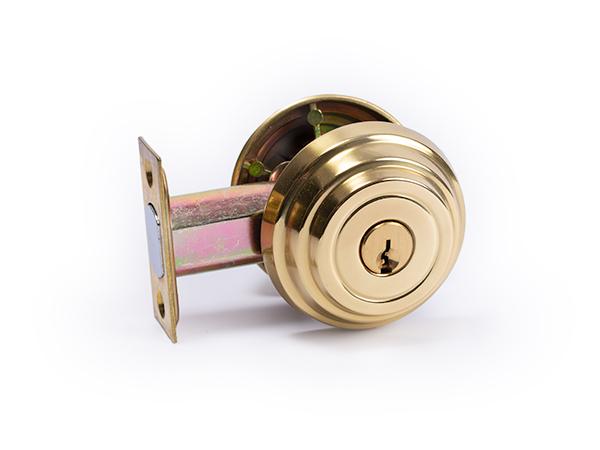 Polished brass, 2.375-inch backset deadbolt lock