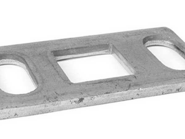 Rectangular steel anchor plate square base, 1 inch